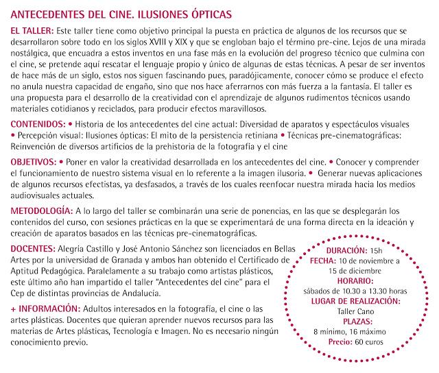 """Fichas-Talleres-octubre_diciembre_201214 Taller """"Antecedentes del cine; ilusiones ópticas"""""""